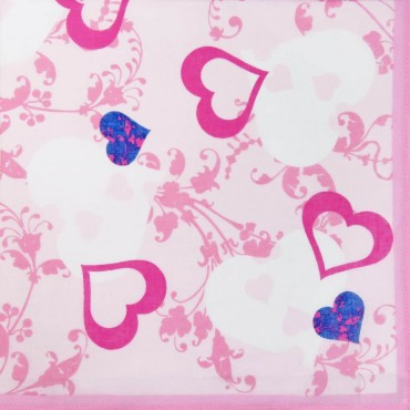 Pink colorway - Giulia - women's handkerchiefs with hearts print