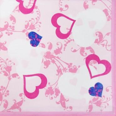 Variante rosa - fazzoletti di cotone da donna con stampa di cuori fantasia
