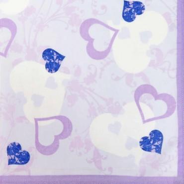 Variante viola - fazzoletti di cotone da donna con stampa di cuori fantasia