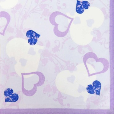 Lilac colorway - Giulia - women's handkerchiefs with hearts print
