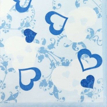 Variante azzurra - fazzoletti di cotone da donna con stampa di cuori fantasia