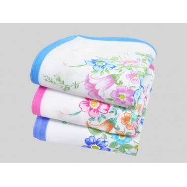 Varianti - Grazia - fazzoletti di cotone da donna con fiori di cosmea e campanule