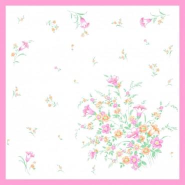 Variante rosa - fazzoletti di cotone da donna con stampa di tulipani e altri fiori