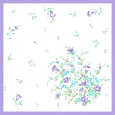 Lillac Colorway - Grazia - handkerchiefs with cosmea flowers and bluebells