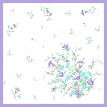 Variante viola - fazzoletti di cotone da donna con stampa di tulipani e altri fiori