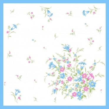 Variante azzurra - fazzoletti di cotone da donna con stampa di tulipani e altri fiori