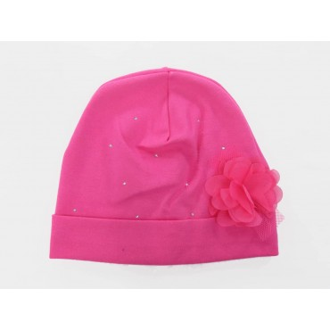 Fuchsia - Katy - Baby hat in cotton with rhinestones and organza flower