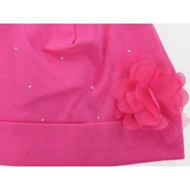 Detail - Katy - Baby hat in cotton with rhinestones and organza flower