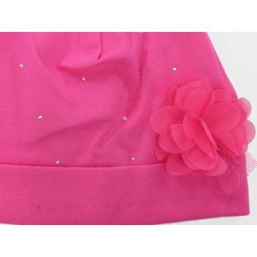 Dettaglio - Katy - Berretto neonata in cotone con strass e fiore in organza