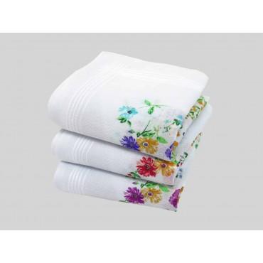 Varianti - fazzoletto di cotone da donna con fondo lavorato jacquard con fantasia floreale