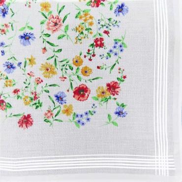 Variante rossa - fazzoletto di cotone da donna con fondo lavorato jacquard con fantasia floreale