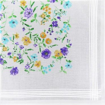 Variante viola - fazzoletto di cotone da donna con fondo lavorato jacquard con fantasia floreale