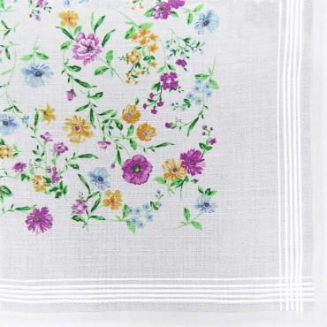 Variante lillà - fazzoletto di cotone da donna con fondo lavorato jacquard con fantasia floreale