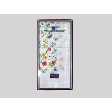 Scatola frontale - fazzoletto di cotone da donna con fondo lavorato jacquard con fantasia floreale