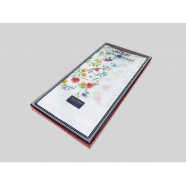 Scatola laterale - fazzoletto di cotone da donna con fondo lavorato jacquard con fantasia floreale