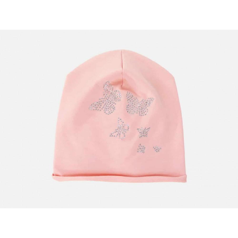 Rosa - Selena - berretto bimba misto cotone con farfalle di strass