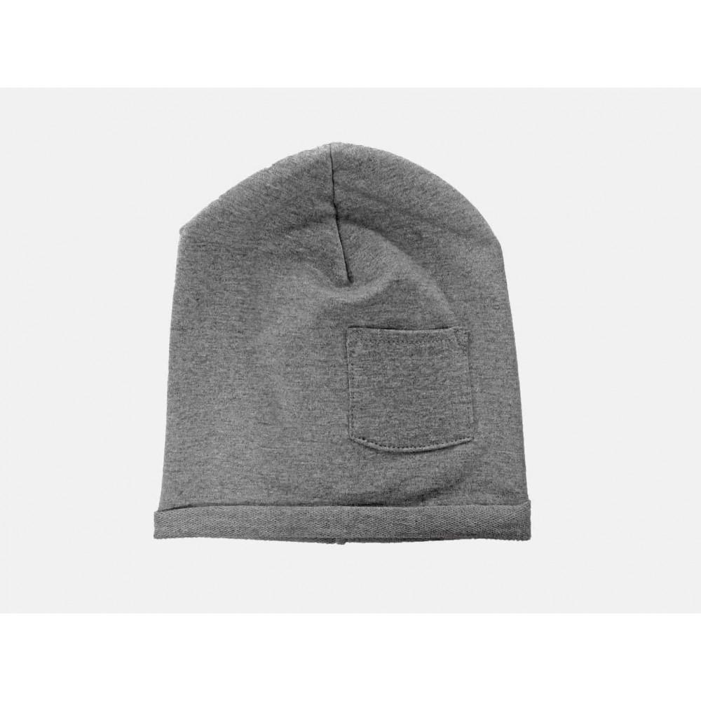 Grigio - Pocket - berretto bimbo e ragazzo in cotone con taschino