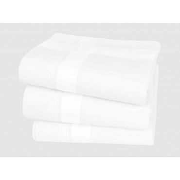 Manhattan white handkerchiefs with satin stripes & Hand rolled hem