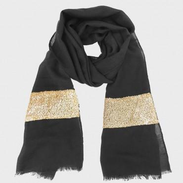 Sciarpa con inserto in paillettes oro nera