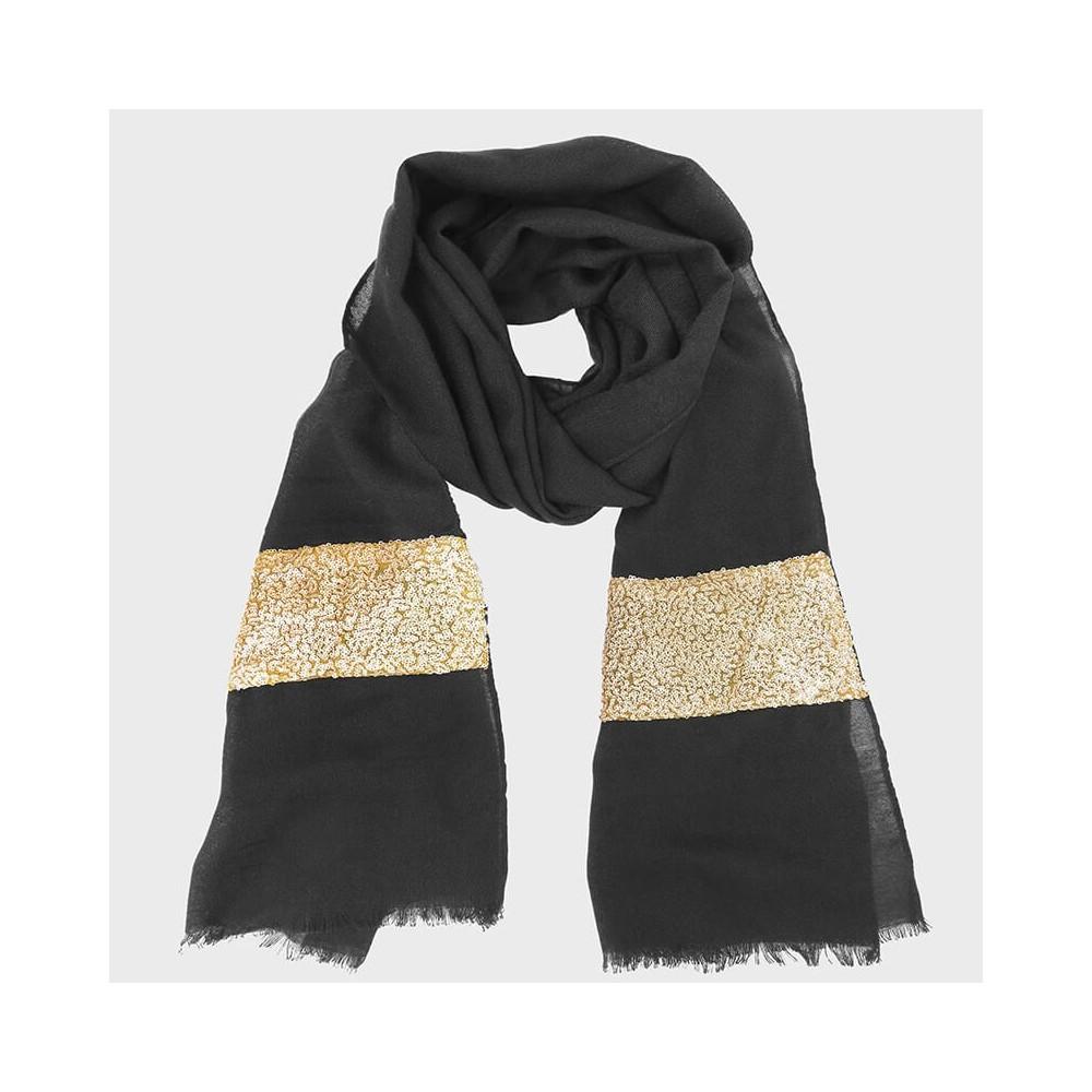 Sciarpa con inserto in paillettes oro