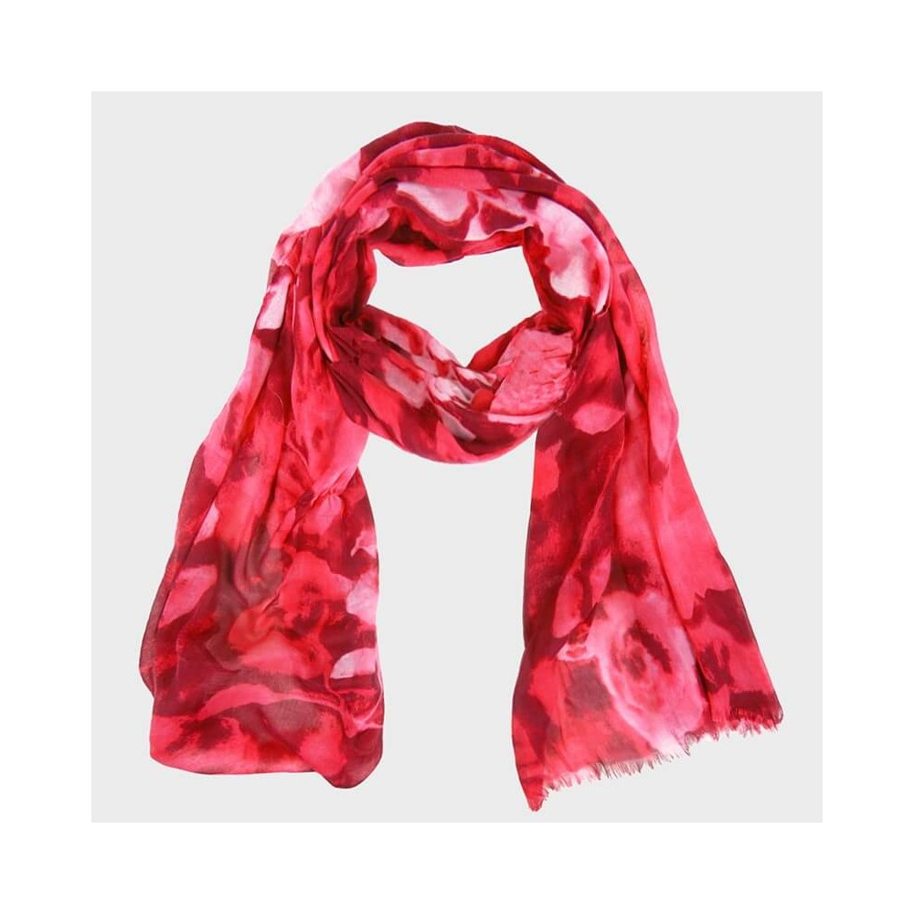 Rose print scarf with clutch bag red