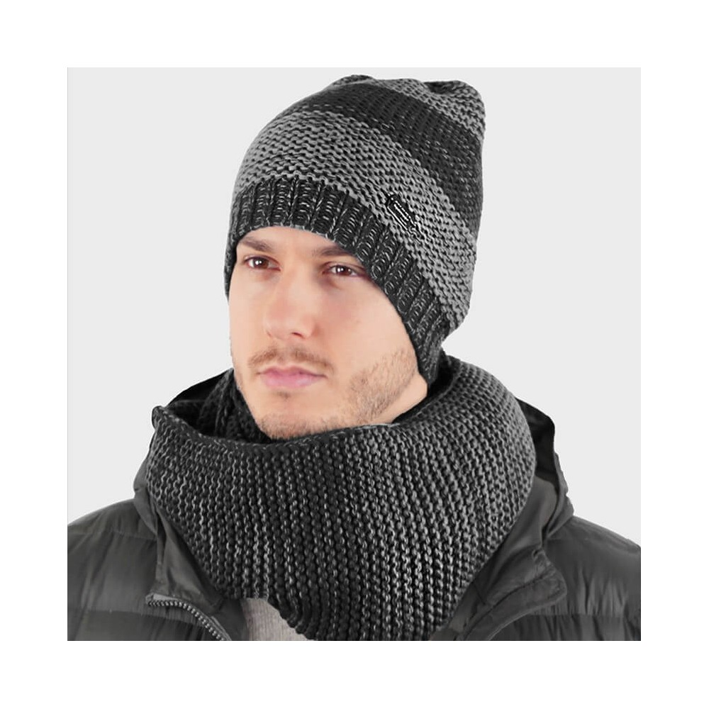 Two-tone soft hat and scarf set - grey model