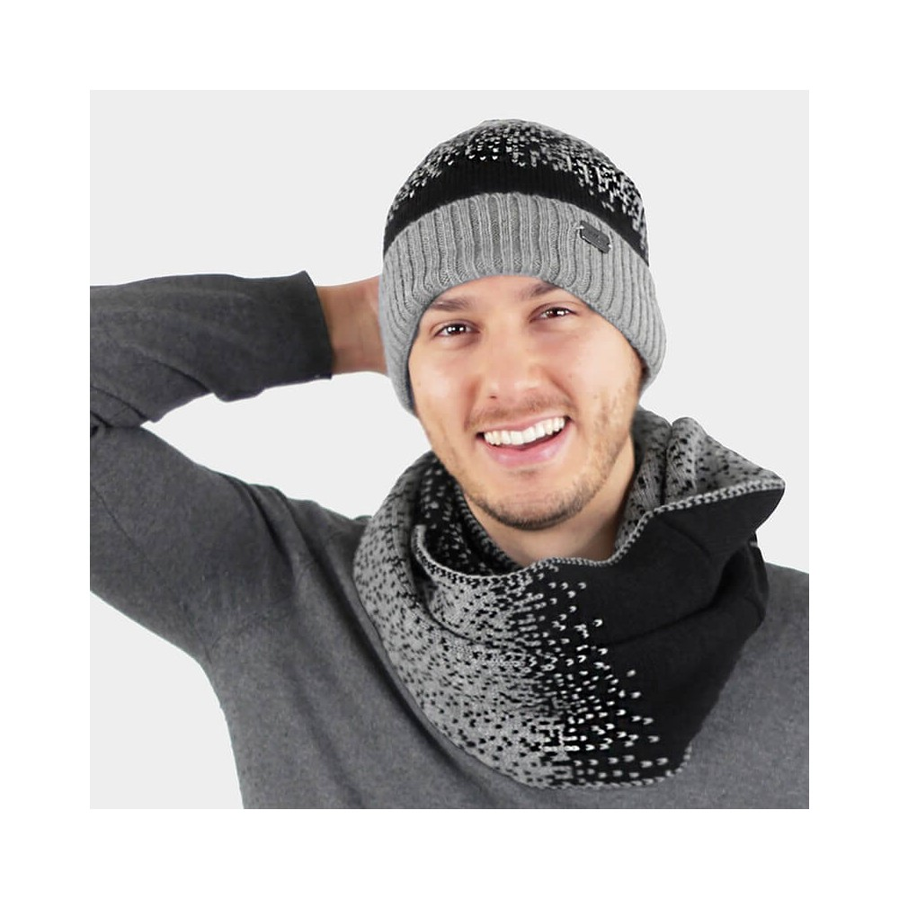 Pixel effect hat and scarf set - gray