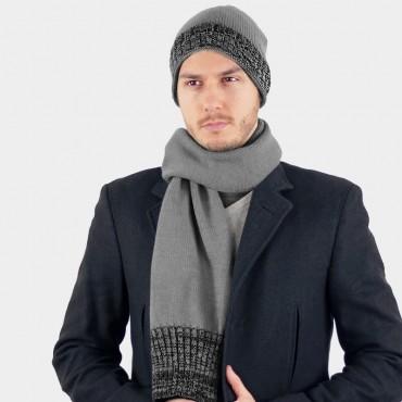 Cappello e sciarpa con bordi sale e pepe - Colombo Milano 1911 grigio