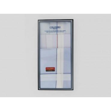 Scatola frontale - Versailles - fazzoletti di cotone da uomo con incroci di spesse righe di raso su fondo pastello
