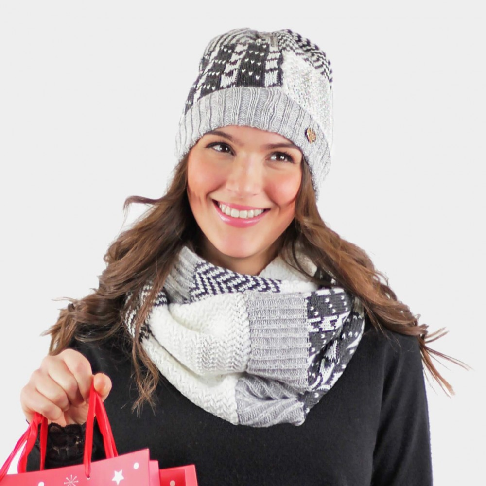 Patchwork hat and scarf