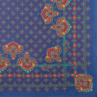 Variante blu - King - fazzoletto di cotone da uomo con fantasia floreale