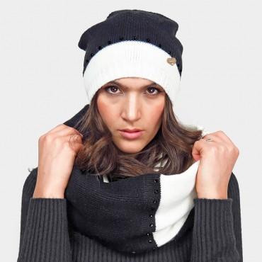 Set cappello e sciarpa ad anello bianco e nero con strass neri - Colombo Milano 1911