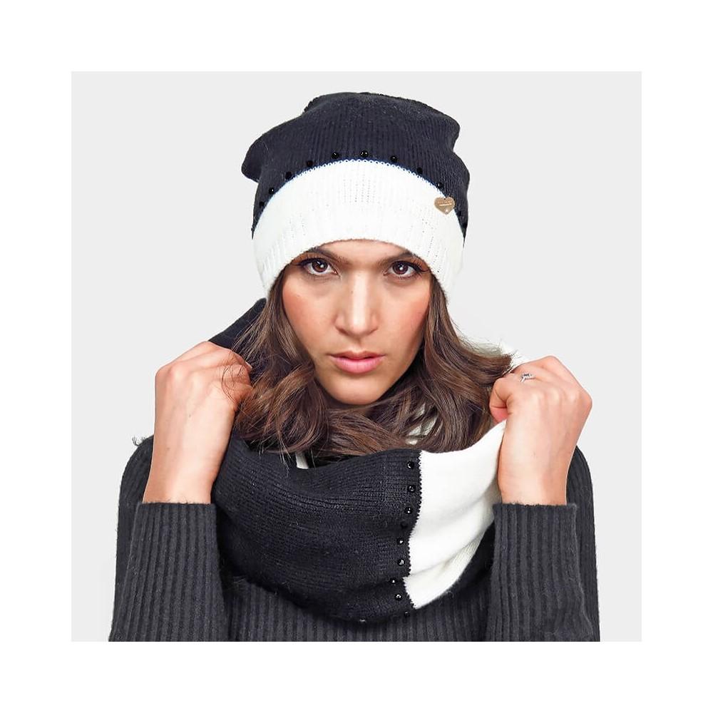 Black and white hat and round scarf with rhinestones - black rhinestones