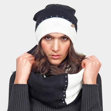 Set cappello e sciarpa ad anello bianco e nero con strass argento - Colombo Milano 1911
