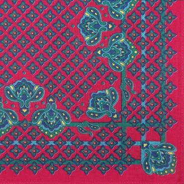 Variante rossa - King - fazzoletto di cotone da uomo con fantasia floreale