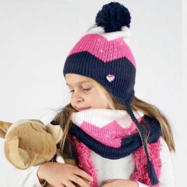 Three-color hat and neck warmer with rhinestones for girls - blue