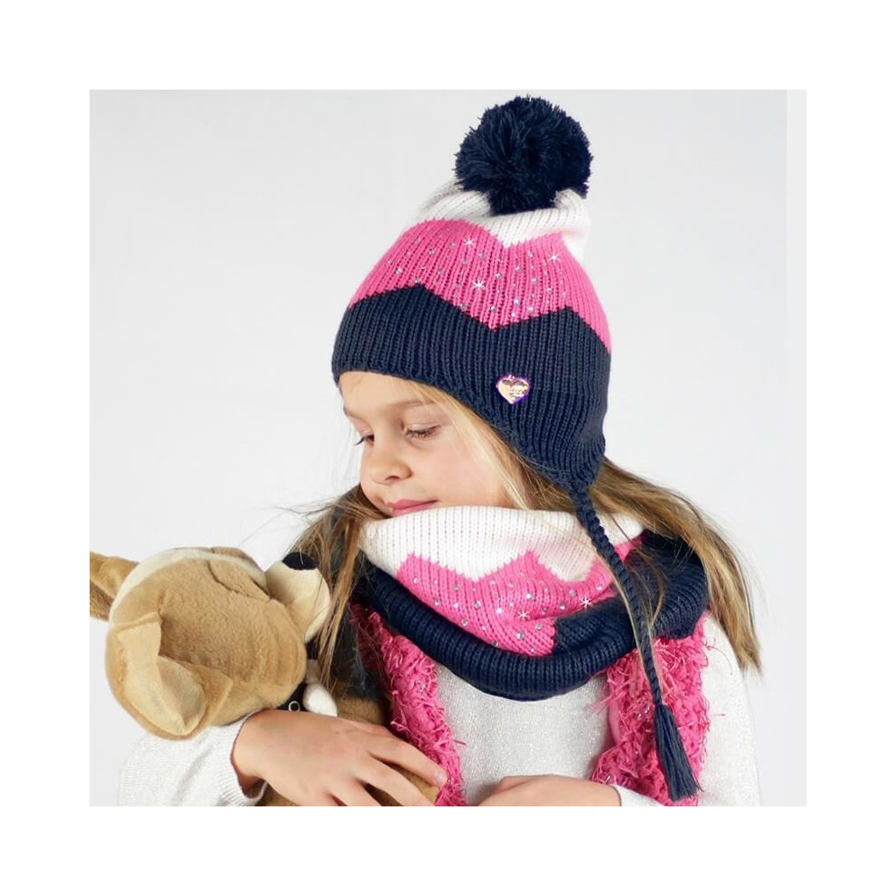 Cappello e scaldacollo a tre colori con strass da bambina - blu