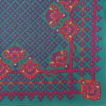 Variante verde - King - fazzoletto di cotone da uomo con fantasia floreale