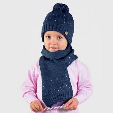 Cappello e sciarpa da bambina con file di strass - Colombo Milano 1911 - blu