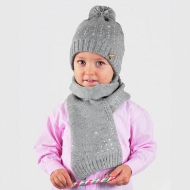 Cappello e sciarpa da bambina con file di strass - Colombo Milano 1911 - grigio