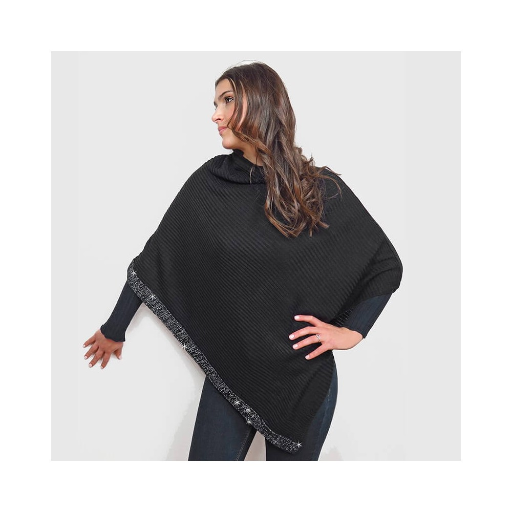Cape with diagonal cut and silver lurex border black