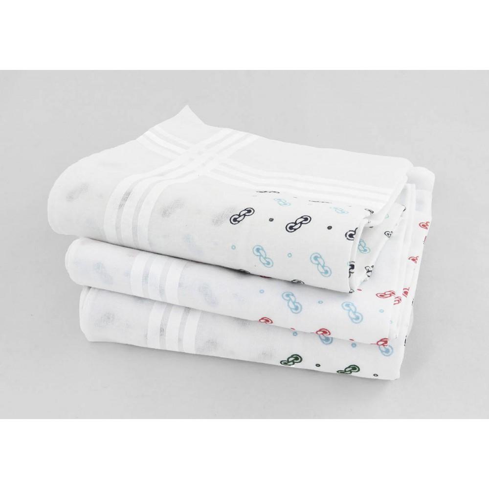 """Varianti - Pegaso - fazzoletti di cotone da uomo bianchi con motivi a """"fibbia"""""""