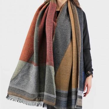 Stola - maxi sciarpa morbida dai colori autunnali - dettaglio