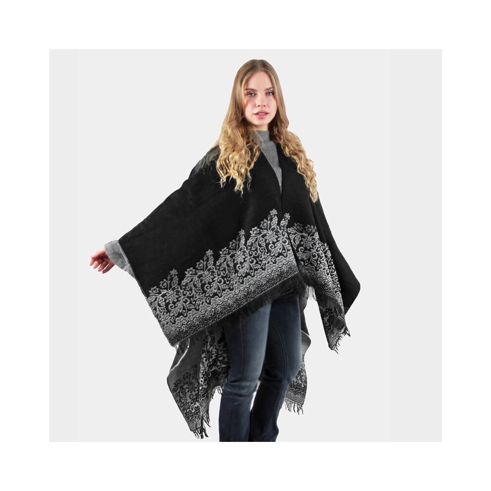 Poncho with floral pattern