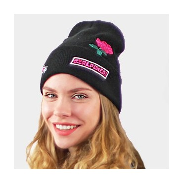 Beanie with writing and embroidery black girlpower
