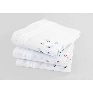 Varianti - Pegaso - fazzoletti di cotone da uomo bianchi con motivi delicati a cerchi e rombi
