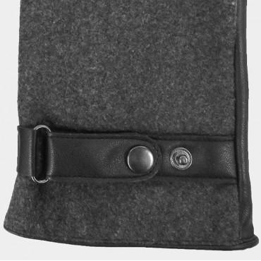 Dettaglio - guanti uomo - guanti in ecopelle e tessuto grigio melange con cinturino