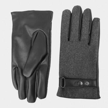 Modello - guanti uomo - guanti in ecopelle e tessuto grigio melange con cinturino