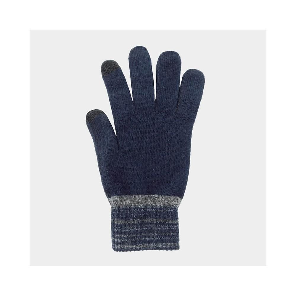Guanti da uomo elasticizzati touch screen con polso bicolore - Colombo Milano 1911 - blu