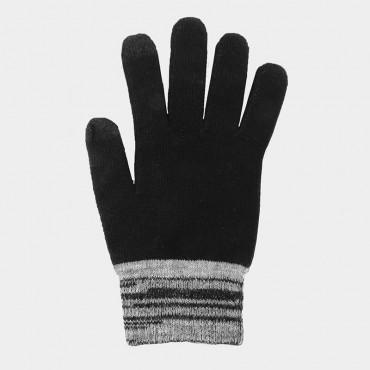 Guanti da uomo elasticizzati touch screen con polso bicolore - Colombo Milano 1911 - nero